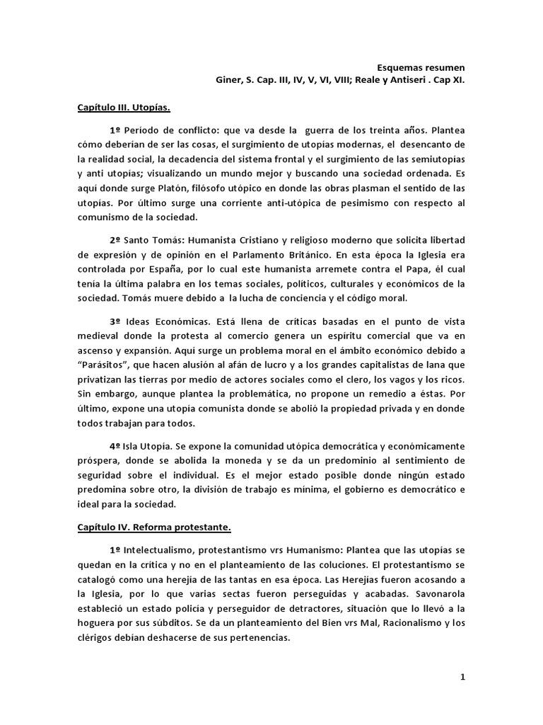 Resumen Historia del Pensamiento Social, Salvador Giner. Capítulos ...