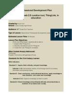 Professional Development Plan- Using ThingLink