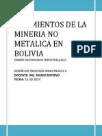 Yaciminetos de La Mineria No Metalica en Bolivia