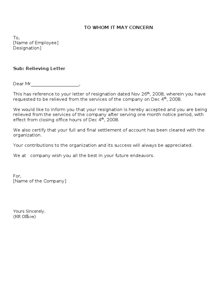 relieving letter format doc Relieving-letterdoc - relieving letter date: name of employee designation employee id sub: relieving letter dear, this has reference to your resignation letter relieving letterdoc.