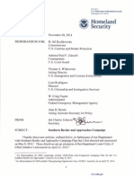 Obama Executive Action Immigration Memo on Southern Border