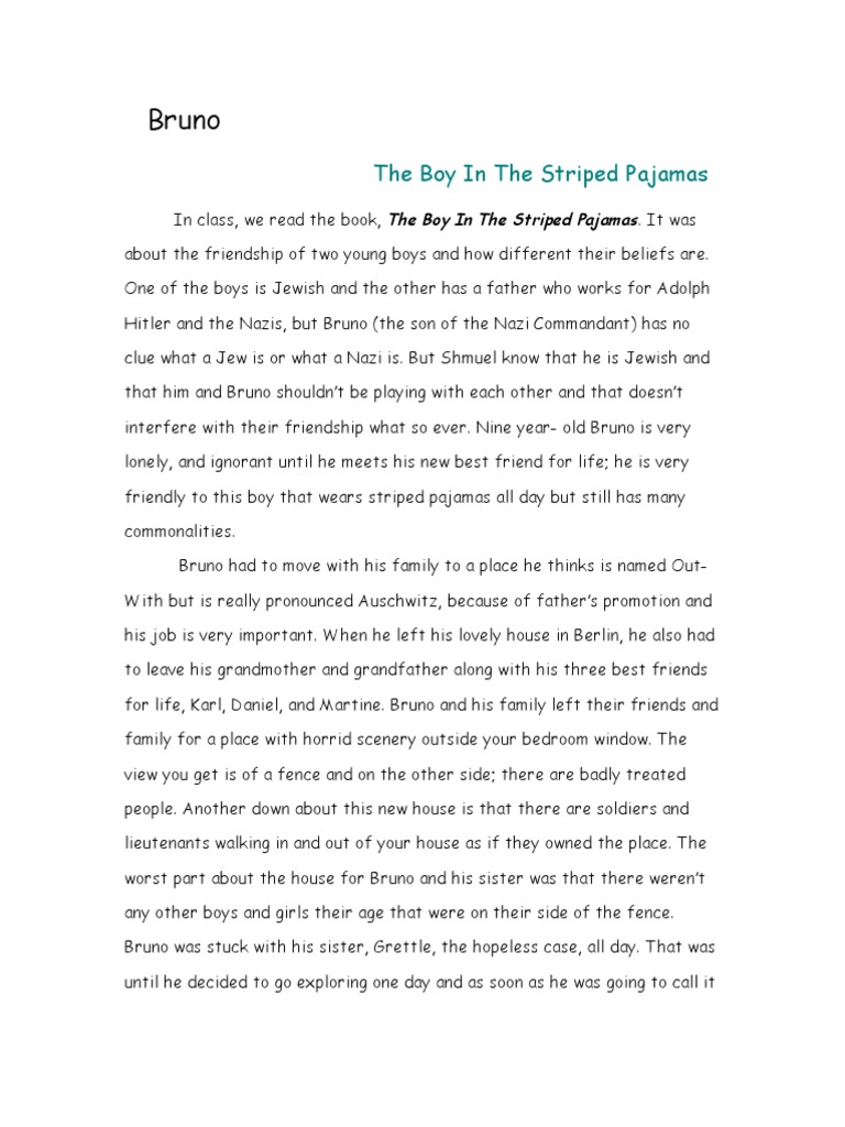 Boy in striped pyjamas essay