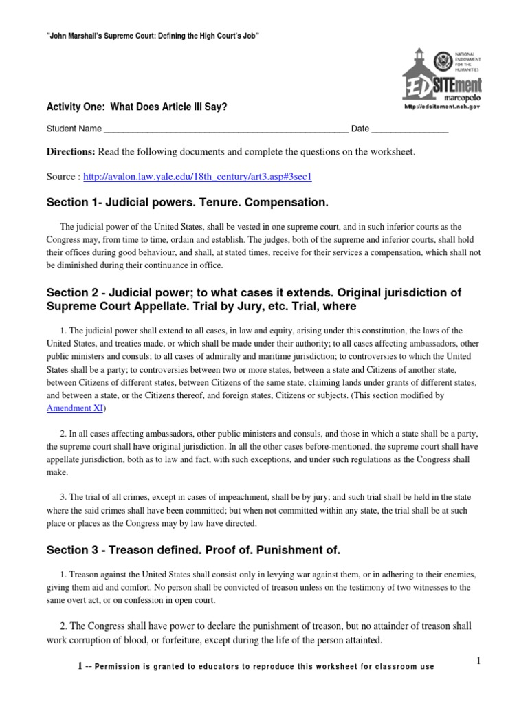 worksheet Important Supreme Court Decisions Worksheet marshall worksheet article three of the united states constitution constitution