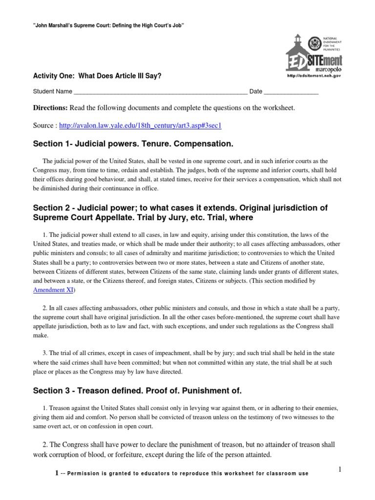 Worksheet Important Supreme Court Decisions Worksheet Carlos Lomas