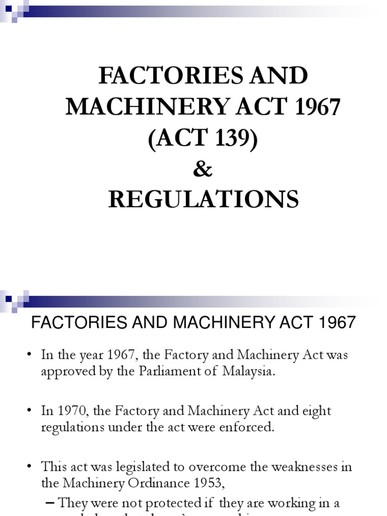1 3 Fma 1967 Act 139 Occupational Safety And Health Administration Safety