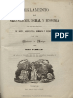 Reglamento de Organizacion, Moral y Economia de Las Sociedaades de Arte, Agro, Comercio y Ciencias 1849