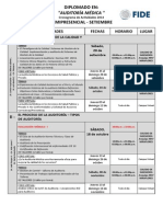Cronograma de Actividades Diplomado Auditoria Medica