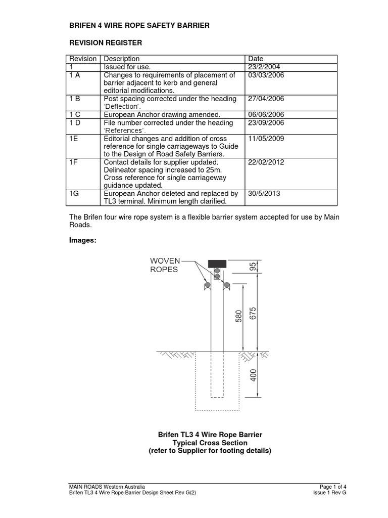 Brifen TL3 4 Wire Rope Barrier Design Sheet Rev G.RCN-D13^23290655 ...
