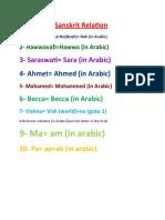 Arabic and Sanskrit Relation