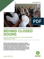 Behind Doors Afghan Women Rights- Oxfam Report