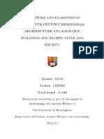 Civic Pride and Classicism in nineteenth century Birmingham