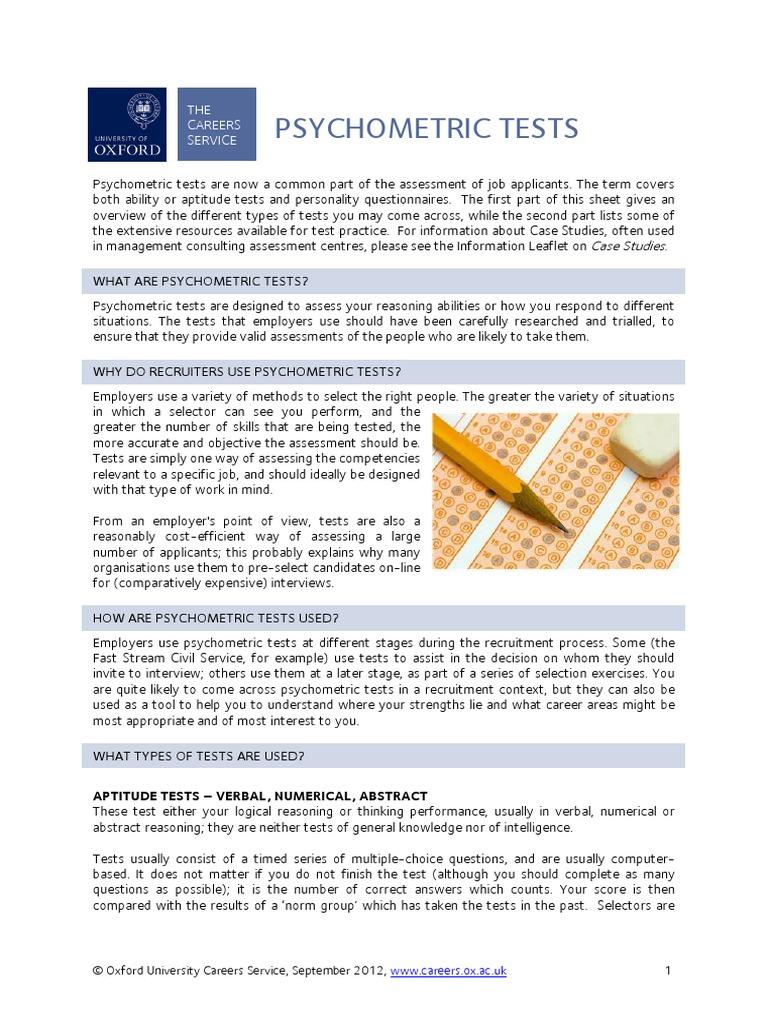 Psychometric Tests 2012 Test Assessment Psychometrics