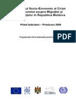 Impactul Socio-Economic Al Crizei Economice Asupra Migraţiei Şi Remiteţelor În Republica Moldova OIM