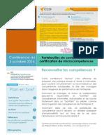 Conférence E2Cel - Ph.D. GAUTHIER - Portefeuilles de compétences et certification de microcompétences - 03 octobre 2014