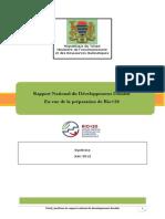Rapport National du Développement Durable En vue de la préparation de Rio+20