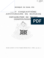 Cent Cinquantieme Anniversaire de Bangkok. Instauration Du Regime Constitutionnel