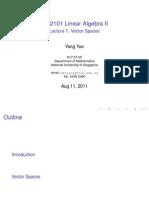 2011 Slides 1 Vector Spaces