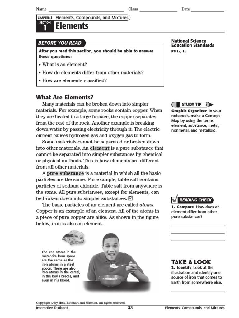 interactive textbook 5 pdf elelments 3 1 | Chemical Elements | Metals