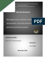 Managementul selectiv nonoperator al leziunilor viscerale abdominale la pacientul politraumatizat