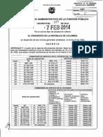 Decreto 177 de 7 Febrero de 2014