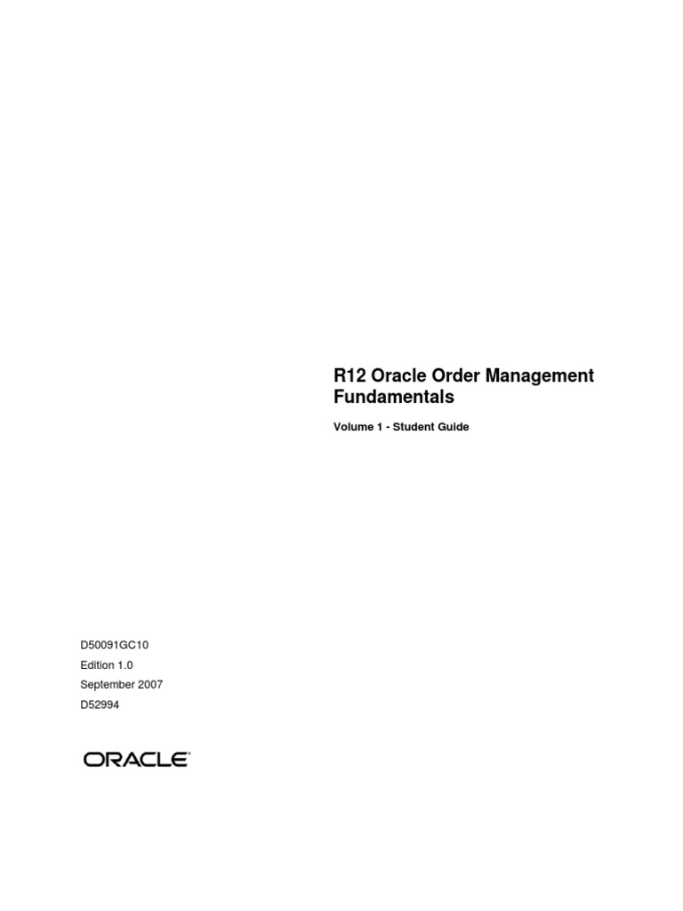 oracle om student guide oracle corporation sales rh scribd com r12 oracle inventory management fundamentals student guide oracle r12 cash management student guide