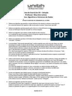 Lista de Exercícios de AED's (Lista 03)