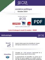 Baromètre Politique Odoxa LExpress Presse Régionale France Inter Octobre 2014