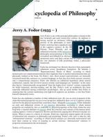 Jerry Fodor - Internet Encyclopedia of Philosophy