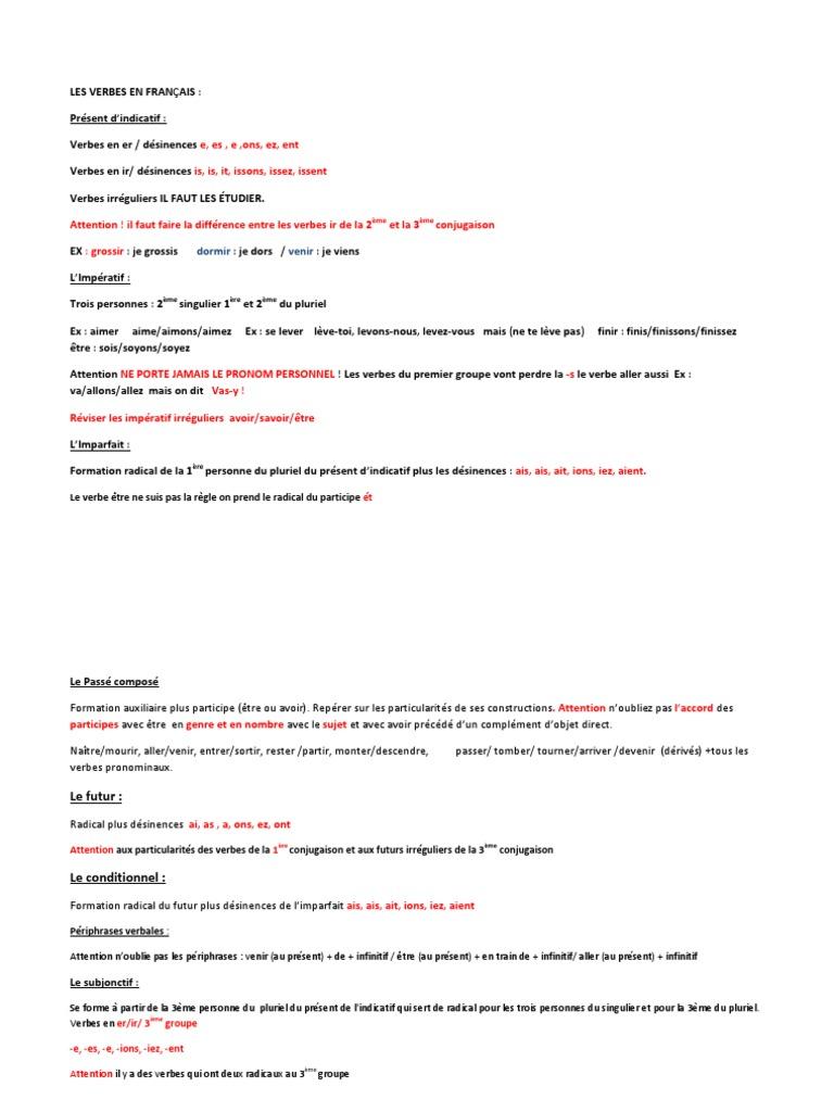 Les Verbes En Francais Pdf Nombre Grammatical Verbe