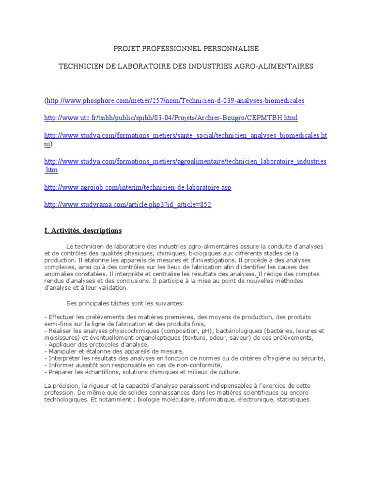 Projet Professionnel Personnalise Chimie Science
