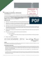 Convocatoria Asamblea General Ordinaria 22-12-2014