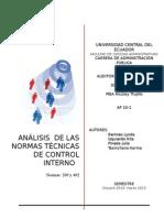 Auditoria (ANÁLISIS  DE LAS NORMAS TÉCNICAS DE CONTROL INTERNO   Ecuador
