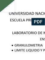 Ensayo de limite liquido y plastico, con  granulometria por tamizado