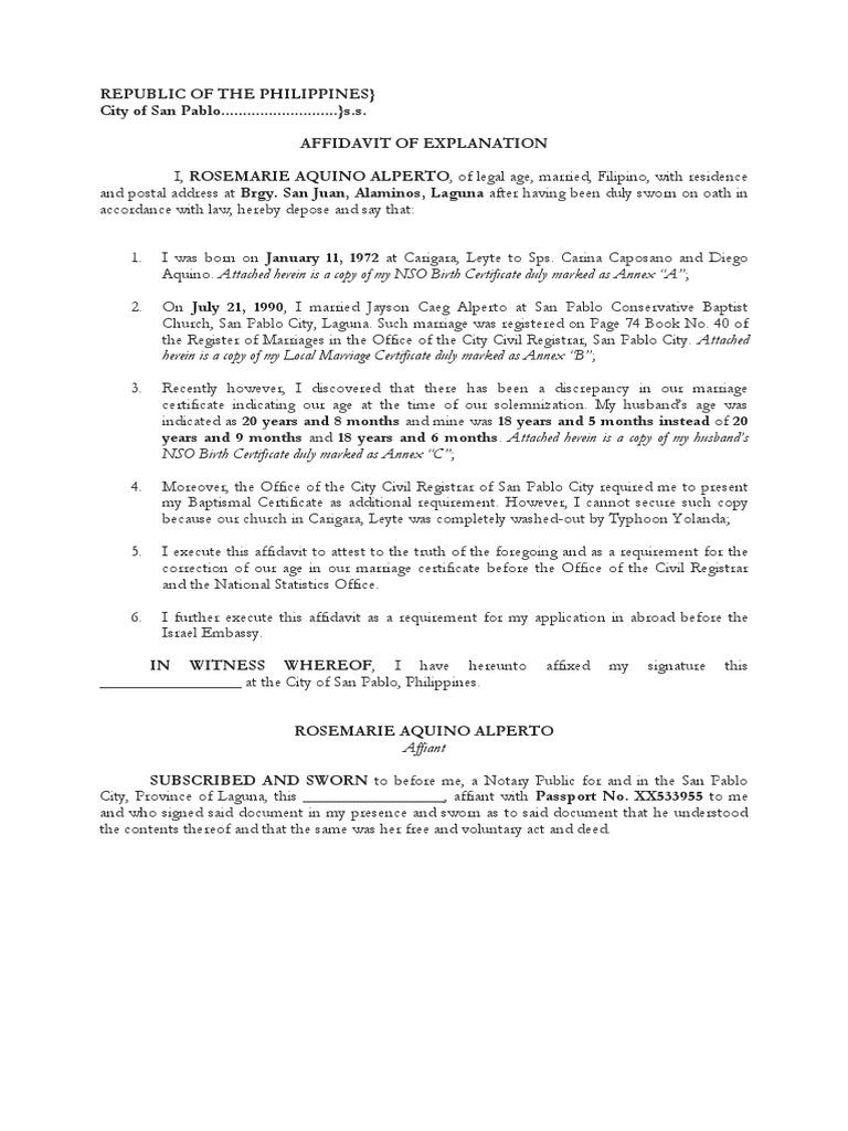 Affidavit of Explanation – Sample Format of Affidavit