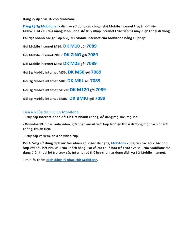Đăng Ký Dịch Vụ 3G Cho Mobifone