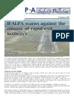 07SAB012 - Misufdse of Rapid Exit Taxiways