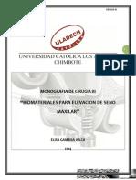 Uso de Biomateriales Para Elevación de Seno Maxilar