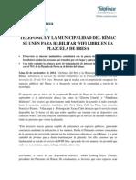 141124NP TELEFÓNICA COLOCARÁ WIFI GRATUITO EN LA PLAZUELA DE PRESA EN EL RÍMAC FINALCMEIEREDEV