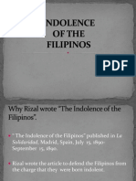 Indolence of the Filipinos