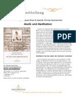 Musik und Meditation - Pressemitteilung