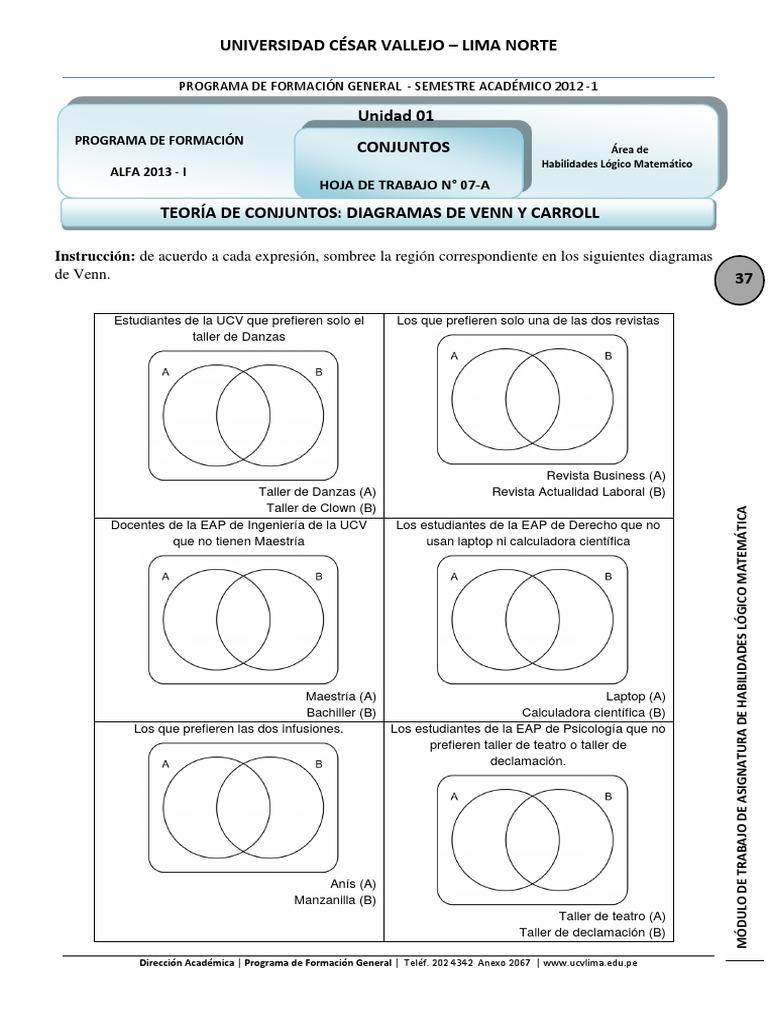 Dorable Diagrama De Venn Hoja Pdf Bandera - hojas de trabajo básicos ...