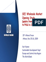 SEE Wholesale Market Opening Study [Update From a Presentation to PHLG in June 2009], World Bank
