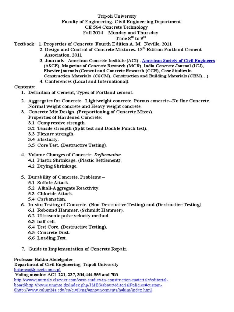 CE 564 Concrete Technology | Concrete | Building Technology