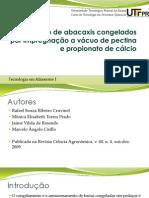 Preservação de Abacaxis Congelados Por Impregnação a Vácuo
