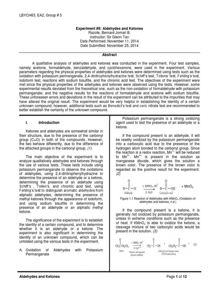 aldehydes and ketones experiment discussion
