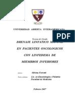 Drenaje en Pacientes Oncológicos Con Linfedema de Los Miembros Inferiores
