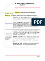 mini lesson reading summarizing