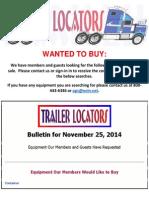 Wanted to Buy Bulletin - November 25, 2014