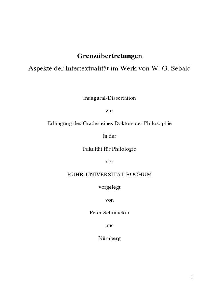 Grenzübertretungen (Intertextualität in W.G. Sebald)