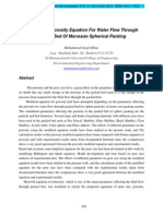 Modeling Of Porosity Equation For Water Flow Through Packed Bed Of Monosize Spherical Packing
